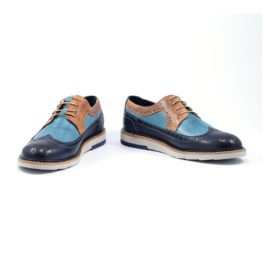 Muške cipele - Casual - Antik 117-1 - Teget- Plava sa braon detaljima
