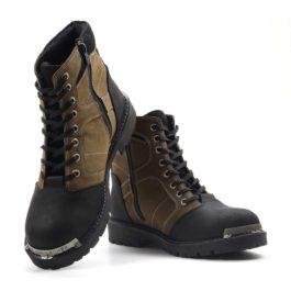 Muške cipele - Duboke - HP-04 - Maslinasta sa crnim detaljima