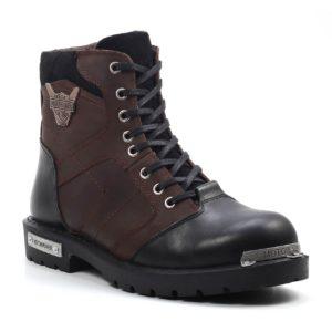Muške cipele - Duboke - HP-04 - Tamno braon sa crnim detaljima