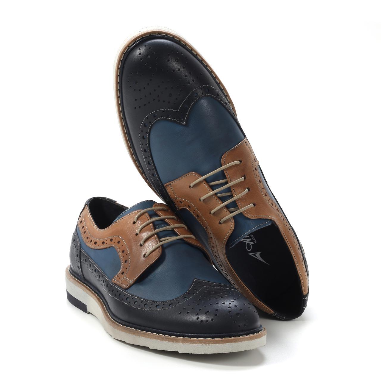 Muške cipele - Casual - 1117-1 - Teget - plava sa braon detaljima