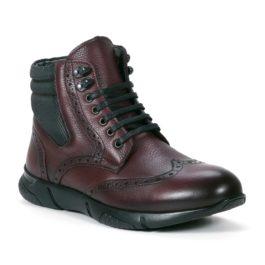 Muške cipele - Duboke - 23411 - Bordo sa crnim detaljima