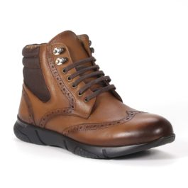 Muške cipele - Duboke - 23411 - Svetlo braon sa tamno braon detaljima