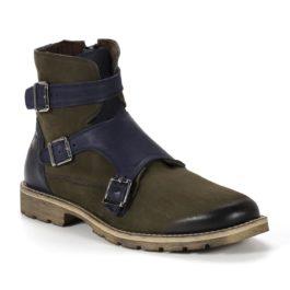 Muške cipele - Duboke - 782-7 - Zelena sa plavim detaljima