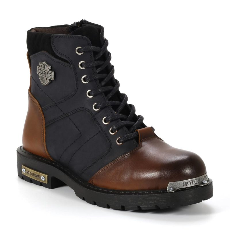 Muške cipele - Duboke - HP-04 - Tamno teget sa tamno braon detaljima