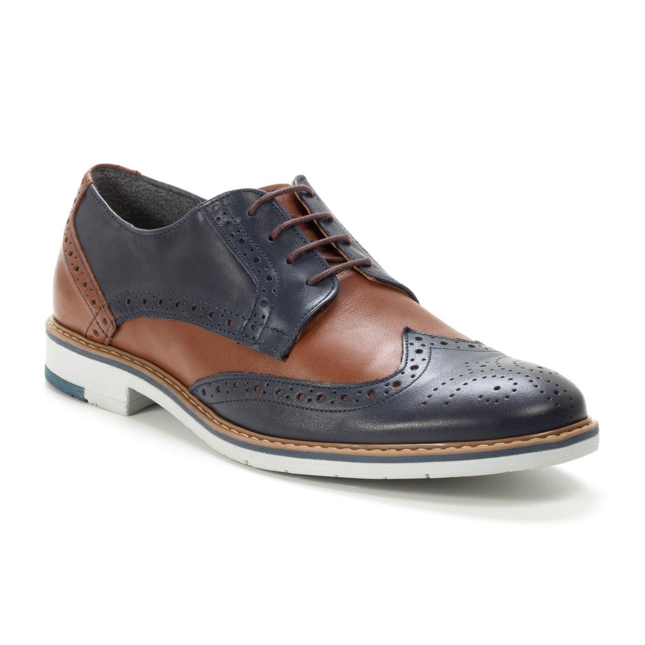 Kožna muška obuća - Muške cipele-Casual-570-2-Teget sa braon detaljima