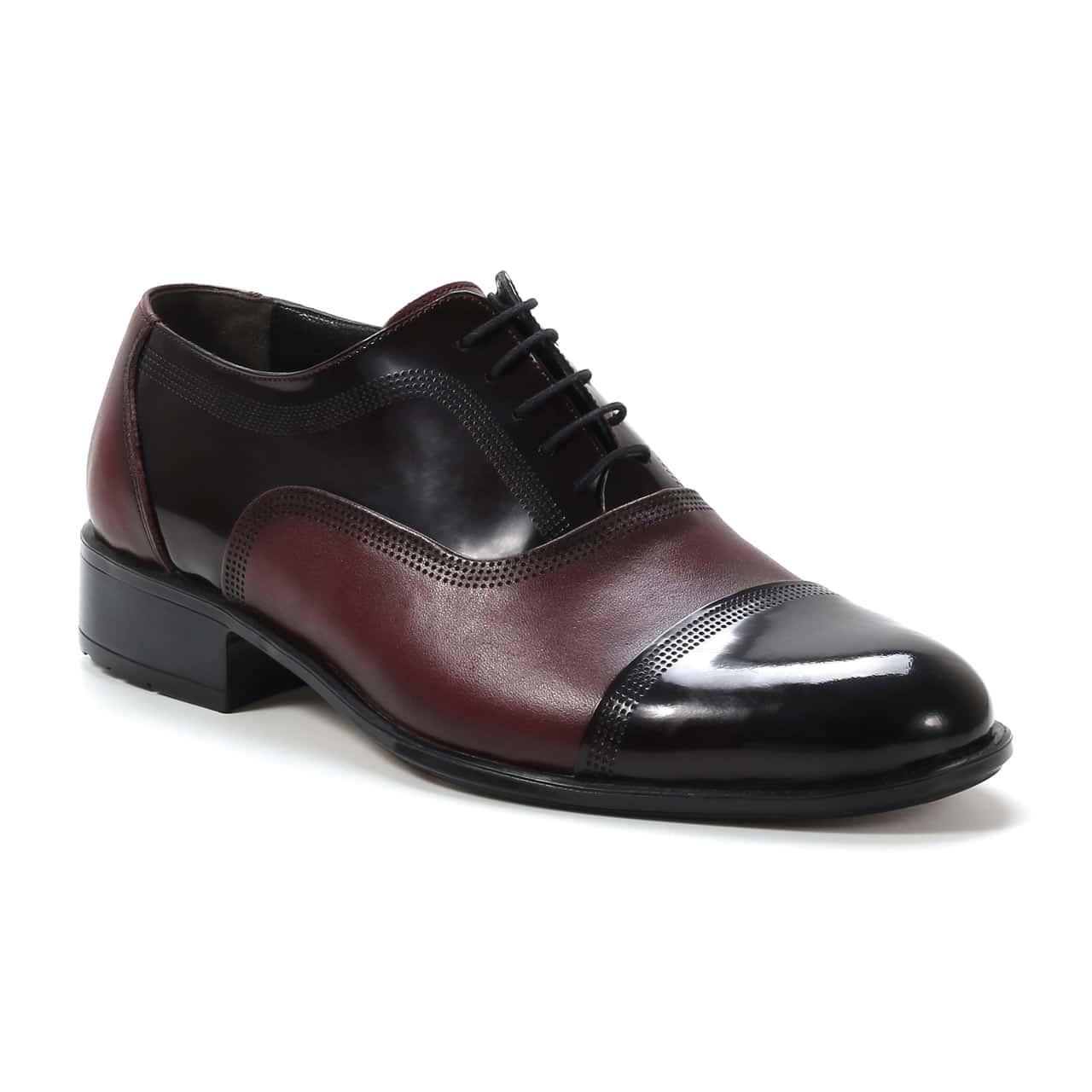 Kožna muška obuća - Muške cipele - Elegantne - 108-2 - Bordo sa tamno bordo detaljima